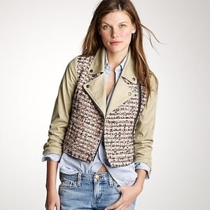 J.Crew Collection Tweed & Khaki Moto Jacket